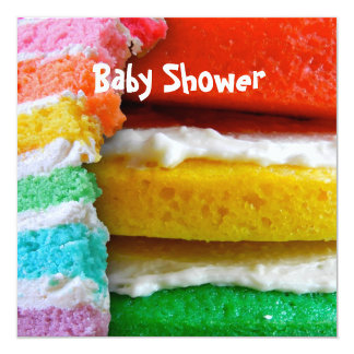 Rainbow Cake Baby Shower Card