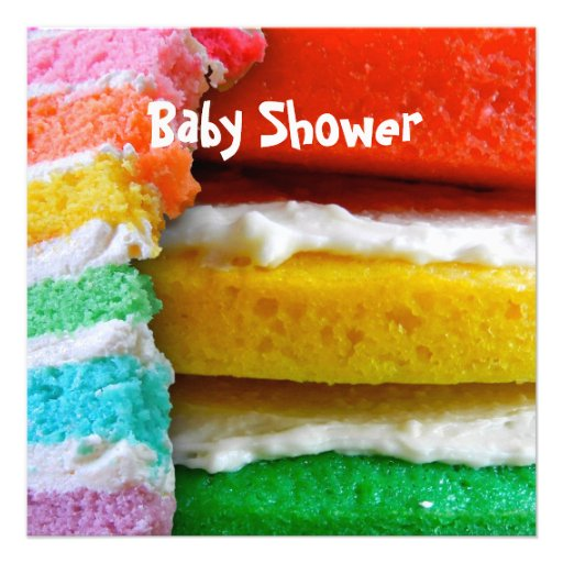 rainbow cake baby shower square paper invitation card