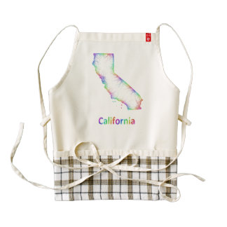Rainbow California map Zazzle HEART Apron