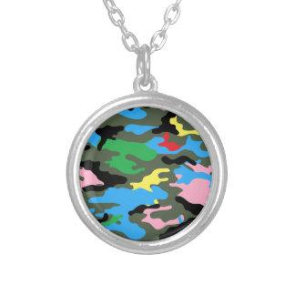 rainbow camo round pendant necklace