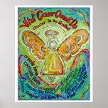 Rainbow Cancer Angel Poster Print (White Edge)
