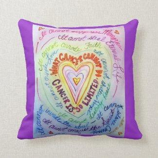 Rainbow Cancer Heart Decorative Throw Pillow