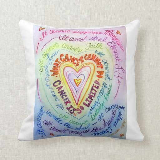 Rainbow Cancer Heart Decorative Throw Pillow