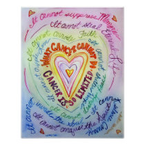 Rainbow Cancer Heart Poster Art Print
