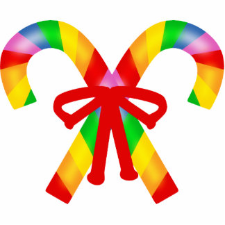 Rainbow Candy Canes Cutout