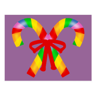 Rainbow Candy Canes Postcard