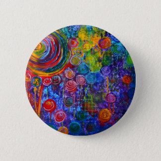 Rainbow Candy Colorful Swirls Art Design Pinback Button