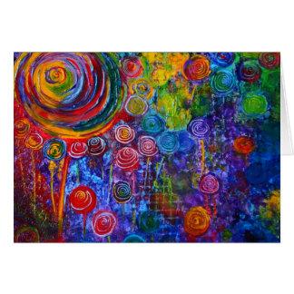 Rainbow Candy Colorful Swirls Greeting Card