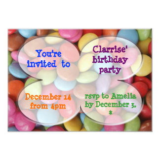 rainbow candy party 5x7 paper invitation card