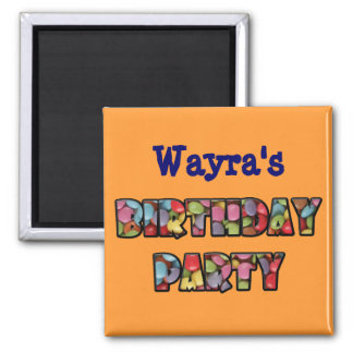 rainbow candy party 2 inch square magnet