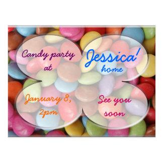 rainbow candy party postcard