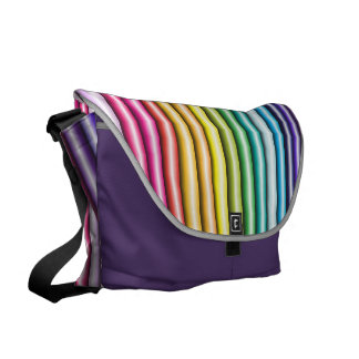 Rainbow Candy Striped Large Messenger Bag
