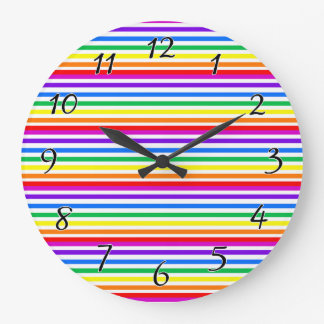 Rainbow Candy Stripes Large Clock