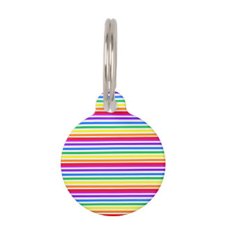 Rainbow Candy Stripes Pet Tag