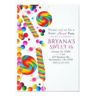 candy sweet 16 invitations zazzle