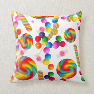 Rainbow Candy Sweets Candyland Lollipops Colorful Throw Pillow