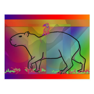 Rainbow Capybara with Bird Postcard