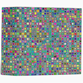 Rainbow 'Carnival' Textured Mosaic Tiles Pattern 3 Ring Binder