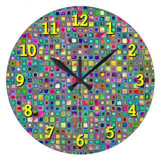 Rainbow 'Carnival' Textured Mosaic Tiles Pattern Clocks