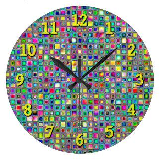 Rainbow 'Carnival' Textured Mosaic Tiles Pattern Wall Clock