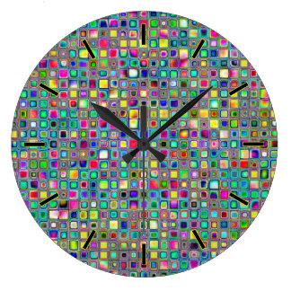 Rainbow 'Carnival' Textured Mosaic Tiles Pattern Wall Clocks