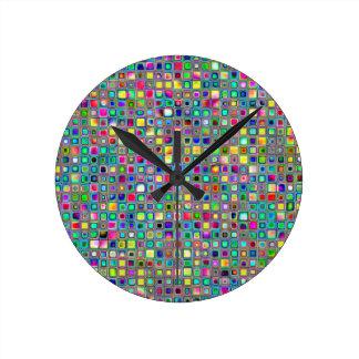 Rainbow 'Carnival' Textured Mosaic Tiles Pattern Round Wallclock