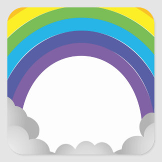 Rainbow Cartoon Square Sticker