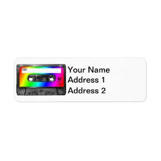 Rainbow Cassette Tape Custom Return Address Label