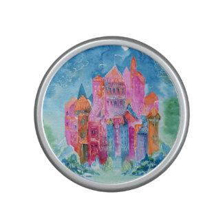 Rainbow castle fantasy watercolor illustration bluetooth speaker