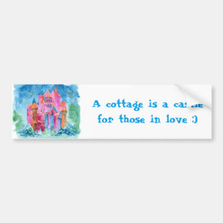 Rainbow castle fantasy watercolor illustration bumper sticker