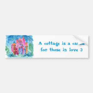Rainbow castle fantasy watercolor illustration bumper sticker