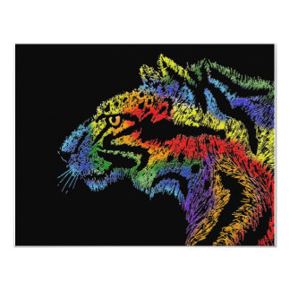 "Rainbow cat (black) invitation - 5.5""x 4.25"""