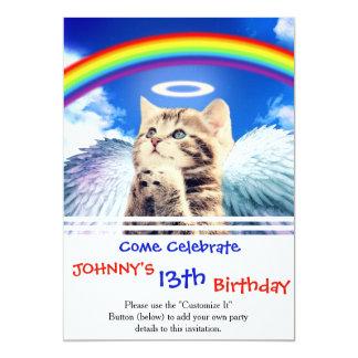 rainbow cat - cat praying - cat - cute cats card
