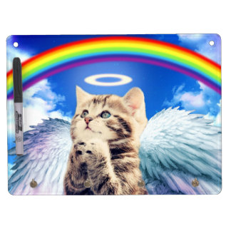 rainbow cat - cat praying - cat - cute cats dry erase board with keychain holder
