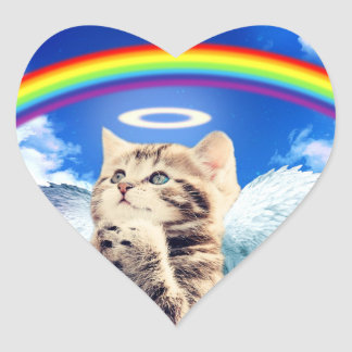 rainbow cat - cat praying - cat - cute cats heart sticker