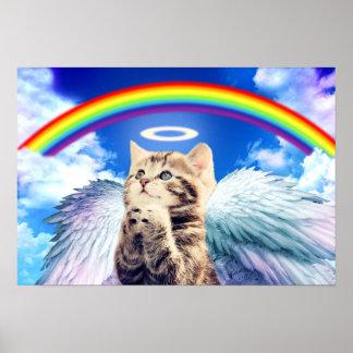 rainbow cat - cat praying - cat - cute cats poster