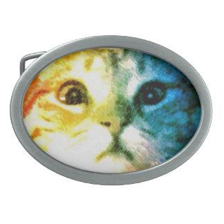 Rainbow Cat Face Belt Buckle