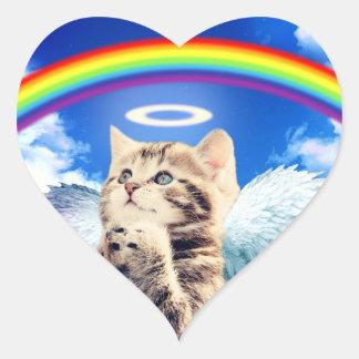 rainbow cat heart sticker