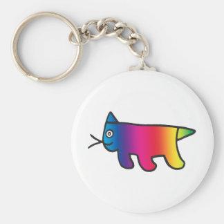 Rainbow Cat Basic Round Button Keychain