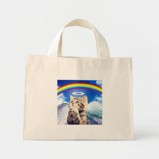 rainbow cat mini tote bag