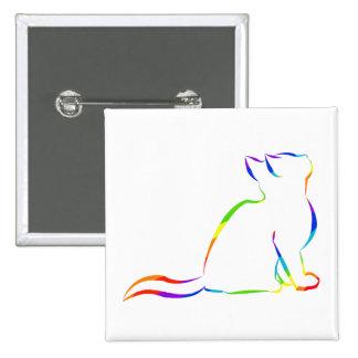 Rainbow cat silhouette button