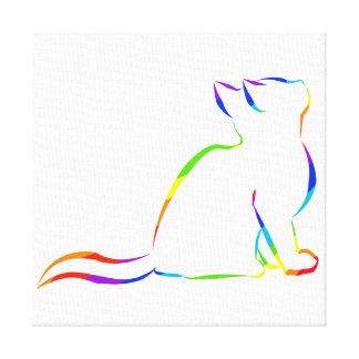 Rainbow cat silhouette canvas print