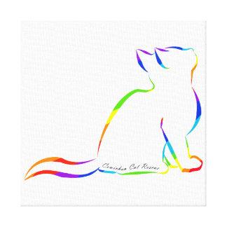 Rainbow cat silhouette, inside text canvas print