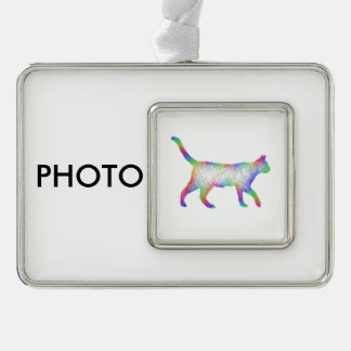 Rainbow cat silver plated framed ornament