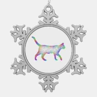 Rainbow cat snowflake pewter christmas ornament