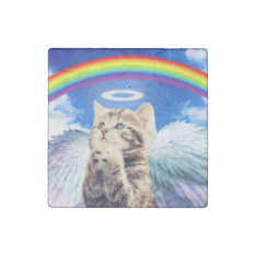 Rainbow Cat Stone Magnet at Zazzle