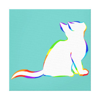 Rainbow cat, white fill canvas print