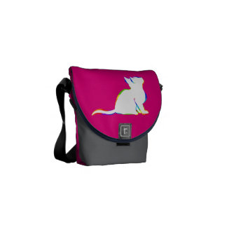 Rainbow cat, white fill courier bag