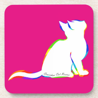 Rainbow cat, white fill, inside text drink coaster