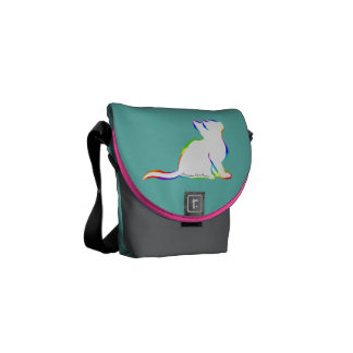 Rainbow cat, white fill, inside text messenger bag